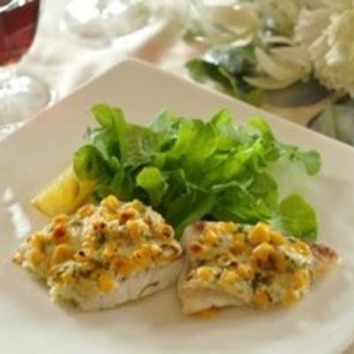 白身魚のコーンマヨネーズ焼き
