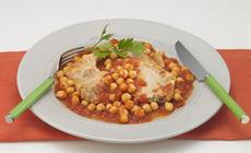 豚ロースとガルバンゾのトマトソテー