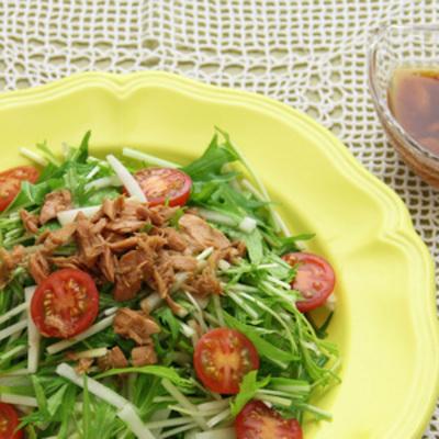 大根と水菜のサラダ・ノンオイル和風ツナドレッシング